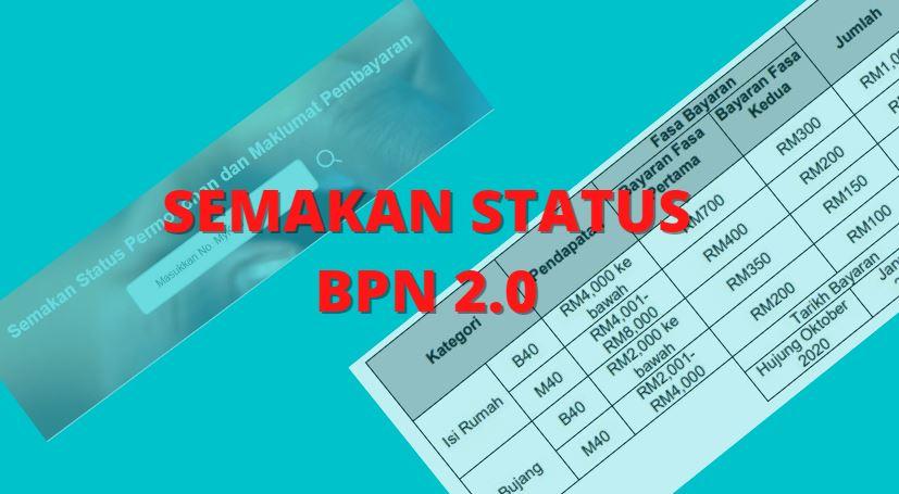 Semakan BPN 2.0: Status Pembayaran Oktober 2020